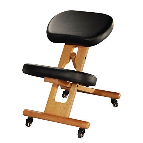 Ergonomischer Kniehocker, verstellbarer Stuhl aus Buchenholz mit Polsterung, Sitz und Kniepolster mit Kunstleder-Bezug, schwarz, Therapeutenhocker, gepolstert, Bürostuhl, PU-Bezug