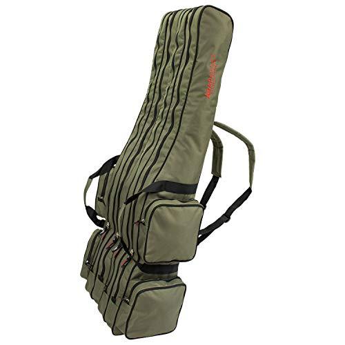 Arapaima Fishing Equipment® Rutentasche 'Rise' 4-Fach | Allround Angeltasche mit 4 Innenfächern | Fishing Angel Rucksack - Oliv - 125 cm