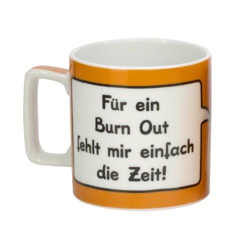 Sheepworld Wortheld Tasse 42470, Tasse mit Spruch Burn out, Kaffee-Tasse aus Porzellan