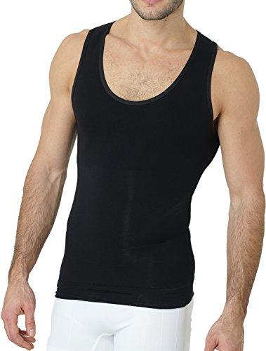 UnsichtBra Shapewear Unterhemd Herren | Body Shaper Funktionsshirt Herren | Bauchweg Kompressionsshirt Herren Weiss o. schwarz (sw_7100)(L, Schwarz)