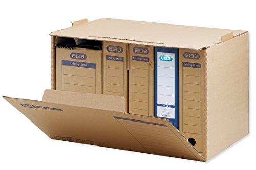 ELBA Systemcontainer mit Frontklappe zur Archivierung, stapelbar, in der Höhe arretierbar, braun, 5 Stück