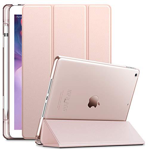 INFILAND Hülle für iPad 10.2 Inch, iPad 7th Generation 2019/ 8th Generation 2020, Superleicht Transluzent Smart Schutzhülle Case mit Pencil Halter, Auto Schlaf/Wach,Rosa Goldene
