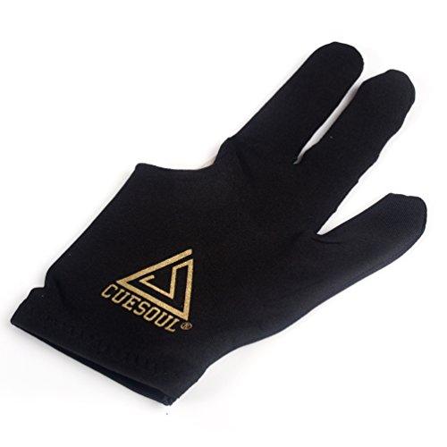 CUESOUL 10pcs / set 3-Finger-Handschuhe Billard Snooker Queue Handschuhe (Schwarz)