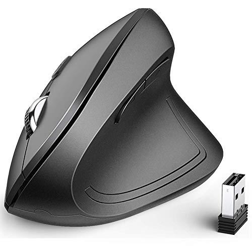 iClever Ergonomische Maus, Vertikale Maus Kabellos mit 6 Tasten und 4 unterschiedlichen DPI-Zahlen: 1000/1600/2000/2400 DPI für Laptop, Computer, Desktop, Mac, Windows, MacOS
