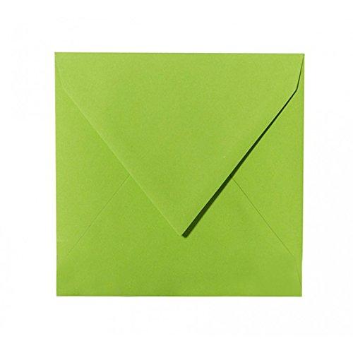 50 Quadratische Briefumschläge Farbe: Gras Grün 150 x 150 mm 15 x 15 cm