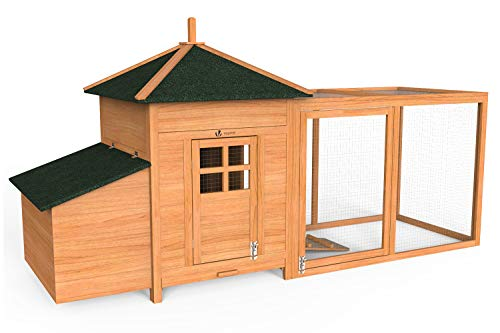 VOUNOT Hühnerstall mit Auslauf, Hühnerhaus Klein, Hühnervoliere Holz, Geflügelstall, ca. 190 x 100 x 55 cm