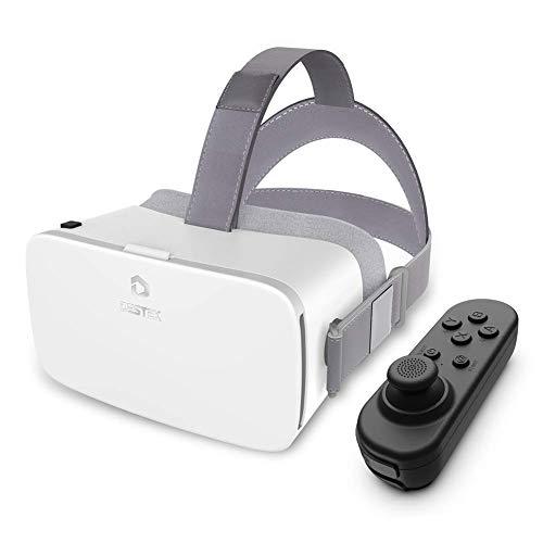 DESTEK V5 VR Brille, 110°FOV Augenschutz HD VR Headset mit Bluetooth-Controller für iPhone 12/11/X/Xs/8P/7P/8/7, für Samsung S10/S8/Note 10/9/8/Plus, 4,7-6,8 Zoll, Weiß