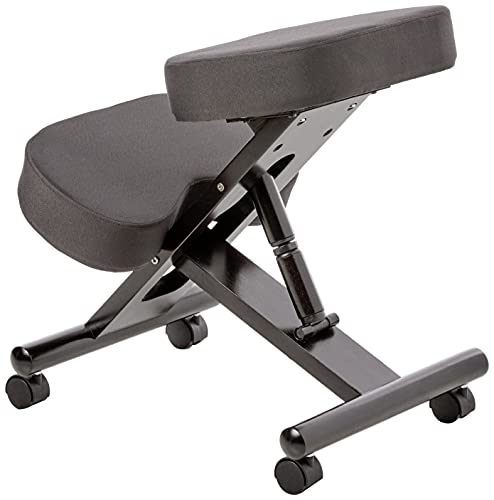 Office Star Ergonomically Designed Knee Chair with Casters, Memory Foam and Espresso Finished Wood Base