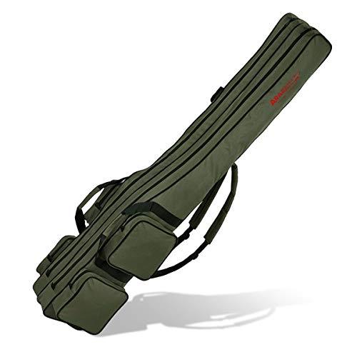 Angel Tasche Futteral Rutentasche Fishing Rucksack - Oliv 2 Innenfächer - 160 cm