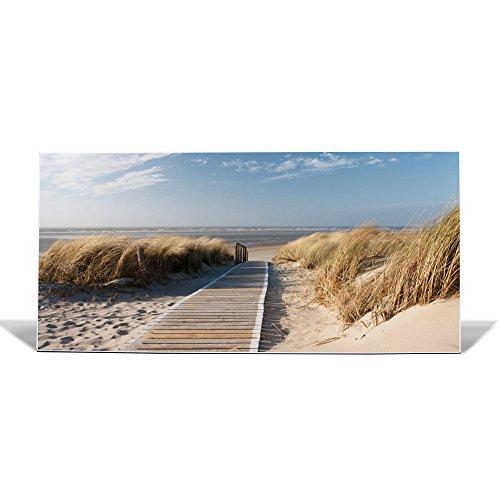 banjado Design Magnettafel weiß | Wandtafel magnetisch 37x78cm groß | Metall Pinnwand | Memoboard mit Magneten und Montageset | Motiv Dünen