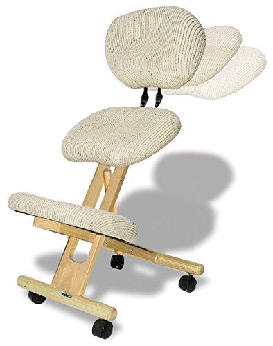 cinius Ergonomischer Stuhl Orthopädischer Kniestuhl mit Rücken Computerstuhl Kniehocker Stoff Natural Farbe