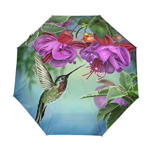 Hunihuni Regenschirm mit Kolibri-Motiv, Blumen-Orchidee, automatisches Öffnen, faltbar, winddicht, wasserdicht, UV-Schutz, Sonnenschutz.