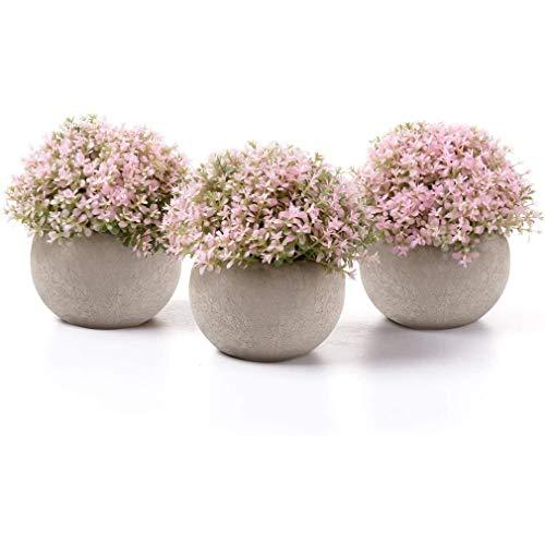 Aiskki Künstliche Blumen Bonsai Kunstpflanze mit grauen Topf , Künstliche Pflanzen für Hochzeit/Büro/Garten/Zuhause Dekoration,3er Set (Rosa)