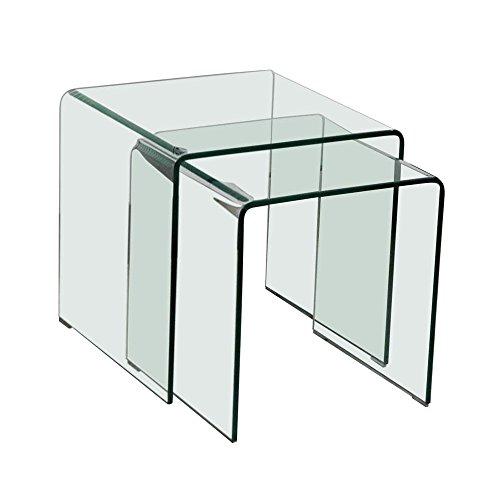 BHP Glastisch 2tlg ausziehbar Wohn ESS Zimmer Küche Glas Tisch TV Beistelltisch B154076