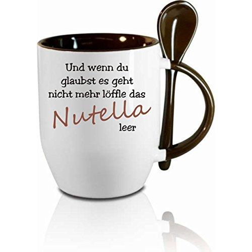 Creativ Deluxe Tasse m. Löffel Und wenn du glaubst es geht Nicht mehr löffle das Nutella leer