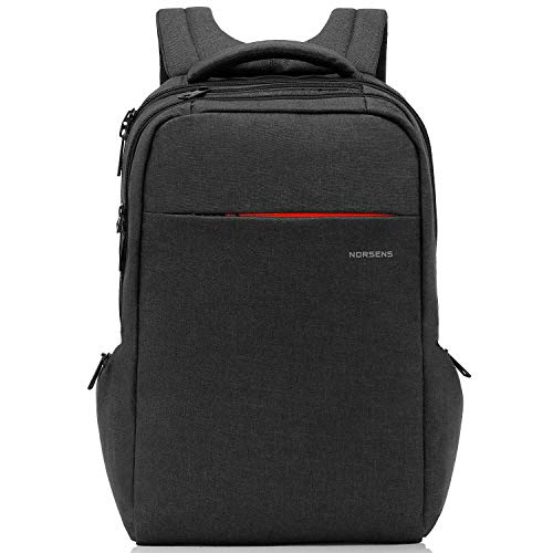 Norsens Anti-Diebstahl-Rucksack für Herren mit Laptopfach, wasserfest in schwarz