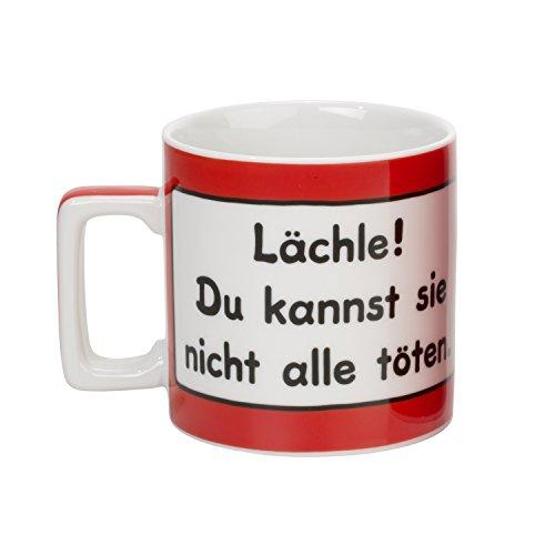 Sheepworld Lustige Tasse mit Spruch Lächle! Du kannst sie nicht alle töten.