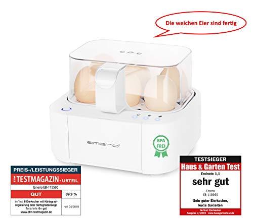 Emerio EB-115560.2, NEUHEIT, kocht alle drei Garstufen [weich mittel hart] in nur einem Kochvorgang mit perfektem Ergebnis, Sprachausgabe, einzigartig in Technik und Design, weiß, BPA frei, 400 Watt