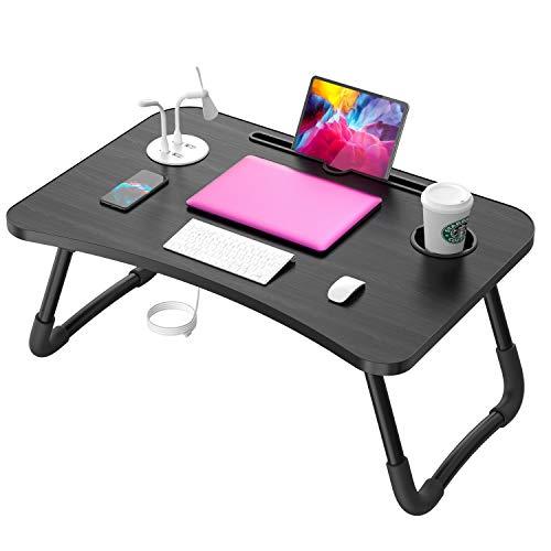 Elekin Tragbar Laptoptisch, Faltbare Notebooktisch Betttisch Lapdesks mit USB/Tassenschlitz, Multifunktionstisch Zeichentisch für Sofa Bett mit Geschenk (Kleine Tischlampe, Kleiner Ventilator)