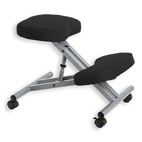 IDIMEX Kniestuhl Kniehocker Sitzhocker Bürohocker Gesundheitsstuhl Robert in schwarz/alufarben, höhenverstellbar, bequem gepolstert, rollbar