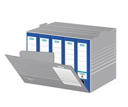 ELBA 400014215 Systemcontainer tric 10 Stück zum Einstellen von bis zu 8 Ordnern mit Archivaufdruck auf der Verschlussklappe, stapelbar, grau