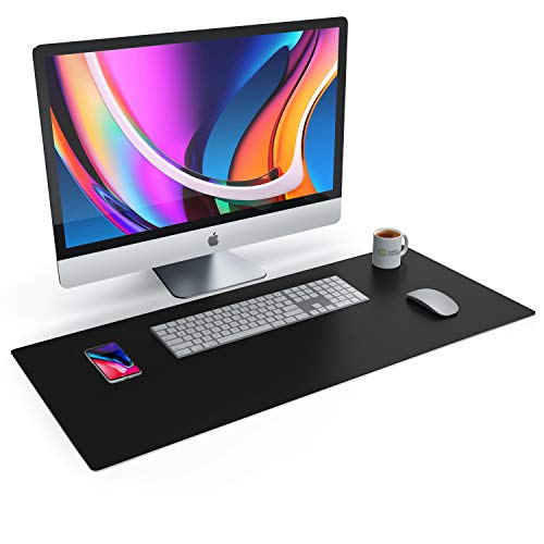 CSL Tischunterlage Schreibtischunterlage 90 x 40cm - Premium PU-Leder Schreibunterlage - zusätzliche Anti Rutsch Beschichtung - wasserdicht - XXL Mauspad für Büro u Home Office 900x400 mm Schwarz