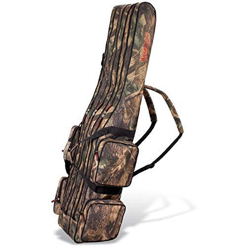 Angel Tasche Futteral Rutentasche Fishing Rucksack - Camouflage 3 Innenfächer - 160 cm
