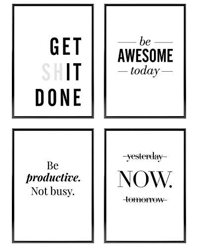 Heimlich ® Premium Poster Set | OHNE Bilderrahmen | Stilvolles Set mit passenden Bilder in Schwarz-Weiß | 4 Stück in DIN A4 (21x30cm) | Ohne Bilderrahmen » Motivation «