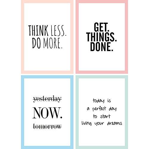 Cupcakes & Kisses® 4er Motivation Poster Sparset mit Motivationssprüchen