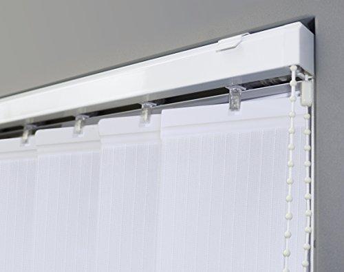 JalousieCrew Vertikal Lamellenvorhang Farbe weiß - Breite 100 bis 250 cm - Höhe 250 cm (individuell kürzbar) Lamellenbreite 89mm (150 x 250 cm)