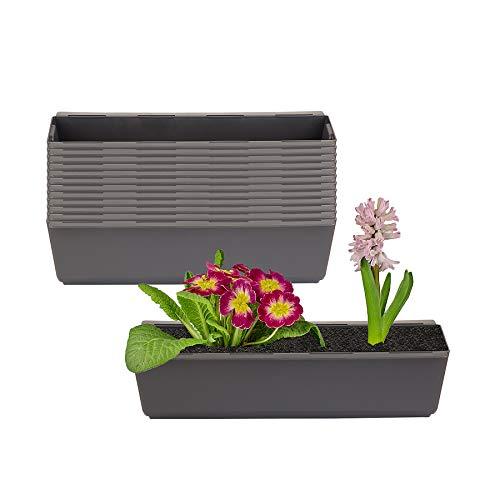 BigDean 12er Set Pflanzkasten inkl. Aufhänger für Europalette - Blumenkübel in Anthrazit - LxBxH ca. 37 x 13,5 x 9,5 cm - Ideal zum Hängen & Stellen - Robust & wetterfest -