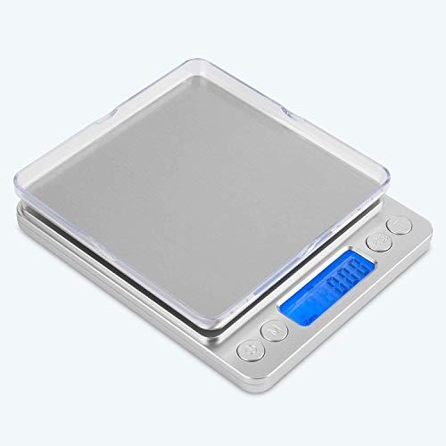 Mafiti Digital Küchenwaage, Digitalwaage 0.1g/3kg, Electronische Feinwaage, PSC/Tara-Funktion/LCD Display, Briefwaage, Taschenwaage - Silbrig