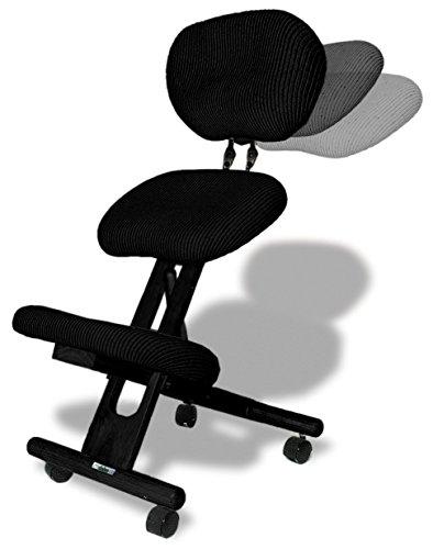 cinius Ergonomischer Stuhl Orthopädischer Kniestuhl mit Rücken Computerstuhl Kniehocker Stoff Schwarz Farbe