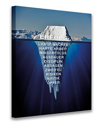 PICSonPAPER Leinwandbild 50 cm x 70 cm, Eisberg des Erfolgs, Geschenk, Motivationsposter, Motivations-Leinwand, Kunstdruck, Motivationsbild, Startup, Entrepreneur (50 cm x 70 cm)