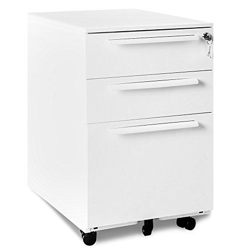 Merax Rollcontainer abschließbar inkl. 3 Schübe, 39 x 52 x 60cm grundsolide Verarbeitung, Schreibtisch Büromöbel,Schubladenschrank Metall, Rollkontainer mit 3 Schubladen, Hängeregistratur (Weiss A)