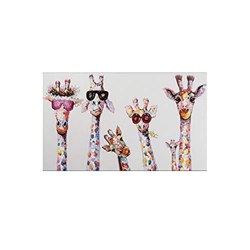 JinYiGlobal Leinwand Wandkunst Tiere Bunte Giraffe Eine Familie mit Brille Malerei Leinwand Bild Leinwanddrucke für Raum 70x140cm (27.6'x55.1) Kein Rahmen