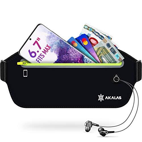 Akalas Laufgürtel für Handy, wasserdichte Sport Hüfttasche, ultraleichte Bauchtasche mit verstellbaren Gummiband, abprallfreie Lauftasche für Joggen, Fitness, Radfahren und Reisen