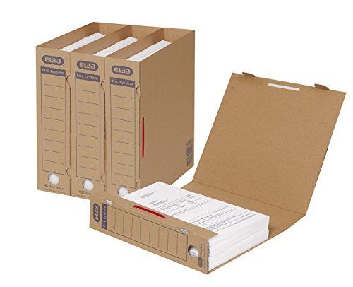 ELBA 100421088 Archivordner tric system 30er Pack mit Verschlusslasche, Archivaufdruck und Griffloch naturbraun für Lose-Blatt-Ablage - Lieferung ohne Bügel