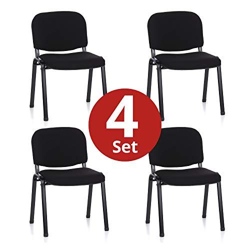 hjh OFFICE 704500 4er Set Besucherstuhl XT 600 Stoff-Bezug Schwarz Konferenzstuhl gepolstert, stapelbar