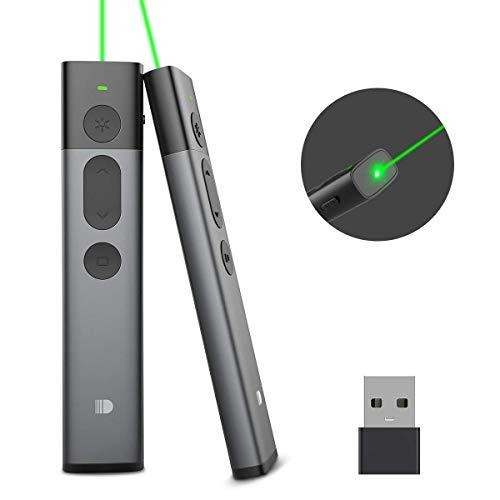 Doosl Presenter Grüner Laserpointer, Powerpoint Präsentation Fernbedienung, Präsentationsfernbedienung Präsenter mit Laserpointer Grüner Laser-Pointer für PPT/Keynote/OpenOffice/Windows/Mac/Linux