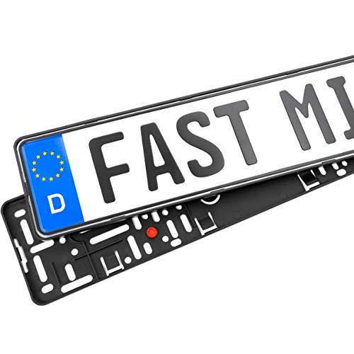 2x Rahmenlose Auto Kennzeichenhalter – Mit Vibrationsdämpfer und Befestigungskit - Für Deutsche Standardkennzeichen - Größe 520 x 110 mm