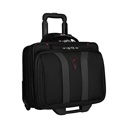 Wenger 600659 GRANADA 17' Laptop-Trolley, gepolsterte Laptoptasche mit Rollen und Übernacht-Fach, Schwarz/Grau {24 Liter}