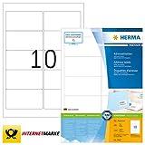 HERMA 4667 Adressaufkleber DIN A4 (96 x 50,8 mm, 100 Blatt, Papier, matt) selbstklebend, bedruckbar, permanent haftende Universal Etiketten, 1.000 Klebeetiketten, weiß