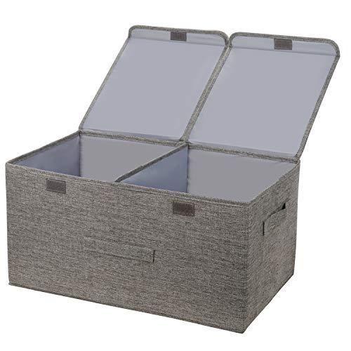 leehui store Große Cube Aufbewahrungsboxen mit Deckel Faltbare Stoff Aufbewahrungsbox Grau mit Griffen 40L Organizer Ablagekörbe für Kleidung Spielzeug Bücher Bettwäsche oder mehr