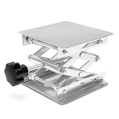 Wisamic Hubtisch Laborständer aus Alumina, 100 x 100 mm, Scherenhebebühne, Höhe 45-150mm, Tragkraft 3 kg