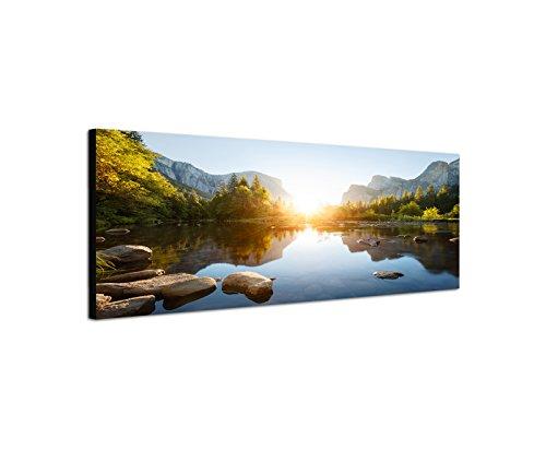 Wandbild auf Leinwand als Panorama in 150 x 50 cm Yosemite Berge Wald Fluss