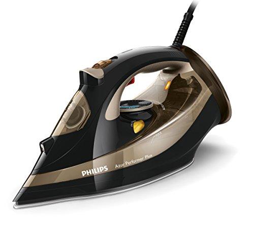 Philips GC4527/00 Dampfbügeleisen Azur Performer Plus (2600 W, 220g Dampfstoß, T-Ionic-Glide Bügelsohle, integrierte Kalkkassette) schwarz/gold