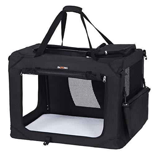 FEANDREA Hundebox Transportbox Auto Hundetransportbox faltbar Katzenbox Oxford Gewebe schwarz M 60 x 40 x 40 cm PDC60H