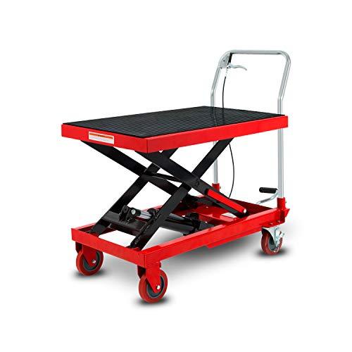 EBERTH Scherenhubwagen Traglast 300 kg (hydraulischer Hubtischwagen, Plattform 820 x 520 mm, Hubbereich 270-800 mm, Geräuscharme Räder mit Feststellbremse, fahrbarer Hubtisch)