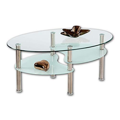 Stella Trading WAVE Couchtisch Glas mit Metall Gestell - geräumiger Glastisch mit Glasablagen für Ihren Wohnbereich - 90 x 41 x 55 cm (B/H/T)